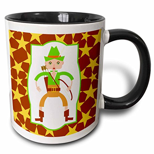 (3dRose Belinha Fernandes - Fairytales and heroes cartoon - Robin Hood cartoon - 15oz Two-Tone Black Mug (mug_160646_9))