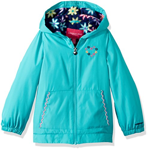 London Fog Little Girls' Floral Printed Fleece Lined Jacket, Chatterbox Turquoise, 6X (Jacket Turquoise Girls)