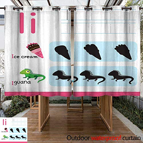 (RenteriaDecor Outdoor Curtains for Patio Waterproof worksheet Vector Design for Kid W96 x L72)