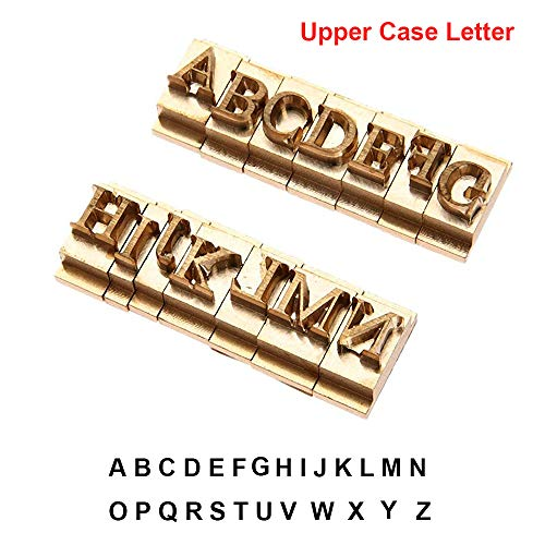 Brass Stamping Die Mold Flexible Letters Numbers Alphabets Symbols DIY Die Stamp Mold for Hot Foil Stamping Machine (Upper case Letter)