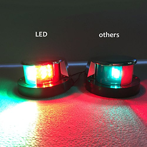 Marine Boat LED Bi Color Bow Navigation Light Red Green Lenses