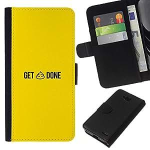 All Phone Most Case / Oferta Especial Cáscara Funda de cuero Monedero Cubierta de proteccion Caso / Wallet Case for LG OPTIMUS L90 // GET SHT DONE - FUNNY