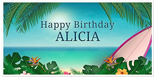- Hawaiian Beach Surf Birthday Banner Personalized Party Backdrop