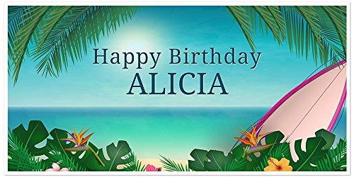 Hawaiian Beach Surf Birthday Banner Personalized Party Backdrop ()