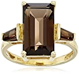 14K Yellow Gold Smoky Quartz Octagon 3 Stone Ring, Size 7