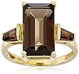 14K Yellow Gold Smoky Quartz Octagon 3 Stone Ring, Size 7