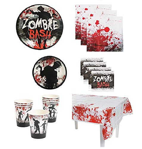(Zombie Bash Party Supplies Pack for 16 Guests Including: Large Plates, Small Plates, Large Napkins, Beverage Napkins, Cups & Table)
