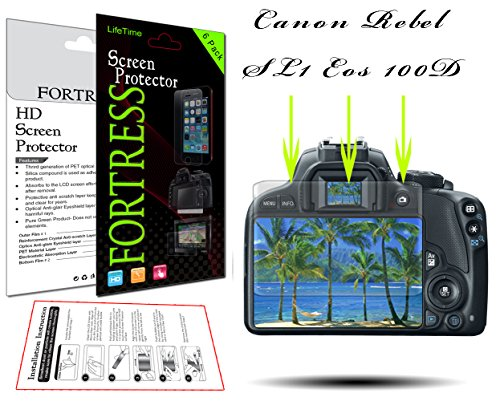 (6 Pack) Canon Rebel SL1 Eos 100D Digital Camera HD High Definition Crystal Clear LCD Screen Protector Kit Exact Fit, No Cutting Needed. LifeTime Replacement Warranty (Fortress Brand)