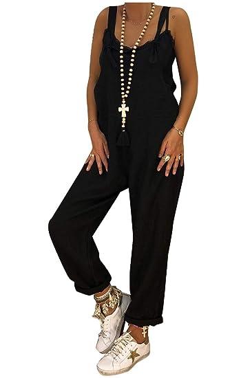 c53bc8fd240a Fseason-Women Organic Cotton Spring Fall Overalls Loose Jumpsuit Pants  Black XS