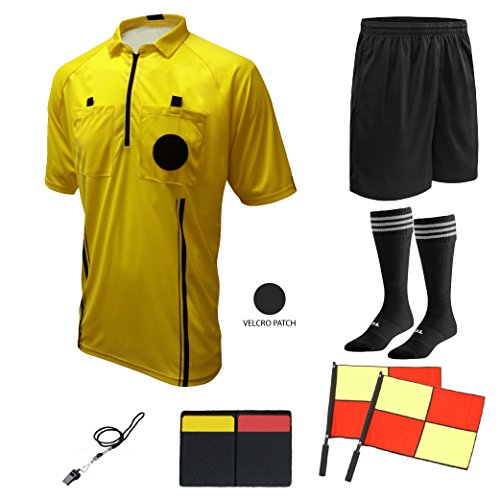 Winners Sportswear Soccer Referee 9 Piece Package (2018 USSF Yellow, Adult Large) ()