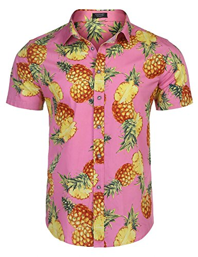 COOFANDY Men's Tropical Pineapple Print Button Down Short Sleeve Casual Hawaiian Shirt, Pink, (Hawaiian Short Sleeve Shorts)