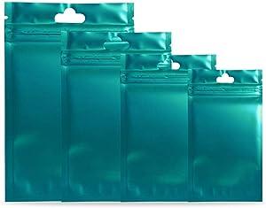 "100 Pcs Aluminum Foil Bags Clear Zipper Pouches Ziplock Bags Hang Hole Heat Seal Pouch Bulk Food Storage Coffee Tea Candy Smell Proof (Matte Translucent Blue, 9x15cm (3.5x6"") Thickness: 3 MIL)"