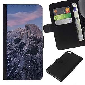 LECELL--Cuero de la tarjeta la carpeta del tirón Smartphone Slots Protección Holder For HTC Desire 820 -- Hermosa Montañas Rocosas --
