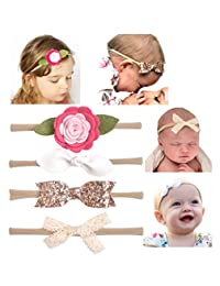 California Tot Soft & Stretchy Headbands for Baby, Toddler, Girls, Mixed Set of 4