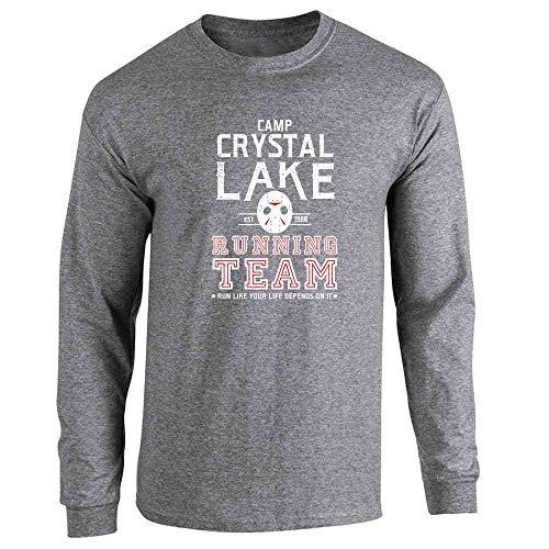 (Pop Threads Camp Crystal Lake Running Team Costume Horror Graphite Heather L Long Sleeve)