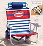 Tommy Bahama Deluxe Backpack Beach Chair with Cooler Plus Bonus Bracelet (Red White Blue Surfboard)