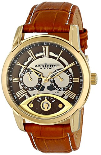 Akribos-XXIV-Mens-AK725YG-Quartz-Movement-Watch-with-Brown-Dial-and-Cognac-with-White-Stitching-Leather-Calfskin-Strap
