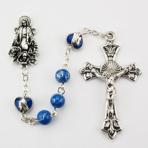 Silver Oxide 6mm Blue Glass Bead with Blue Enameled Heart O.F. Bead Rosary. Deluxe Gift Box Included. - Enameled Heart Bead
