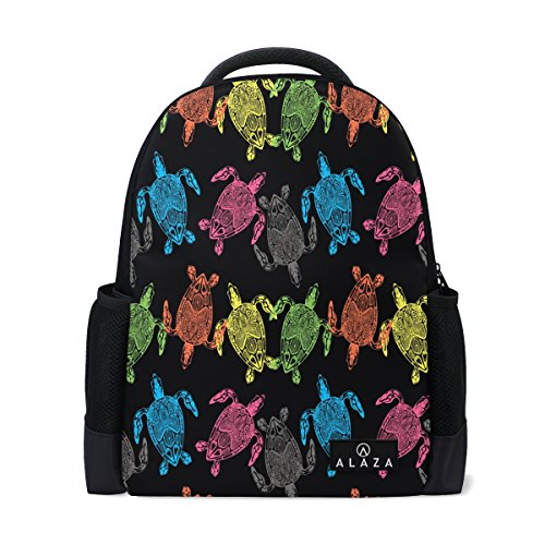 color Sea Turtle Polyester Backpack School Travel Bag (Color Back Sea Turtle)