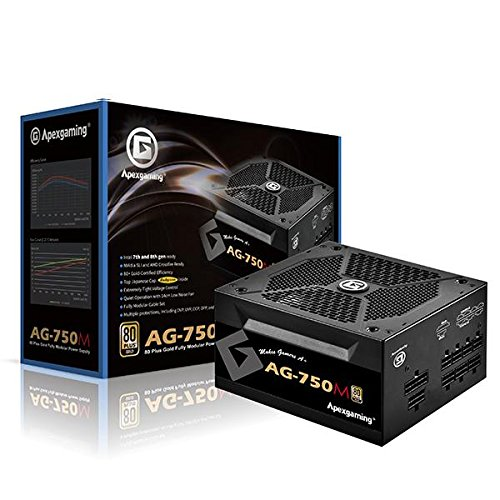 APEXGAMING AG Series Gaming Power Supply (AG-750M), 750W 80 Plus Gold Certified, Fully Modular, Active PFC, Continuous Power 750W, Peak Power 950W (950 Watt Power Supply)
