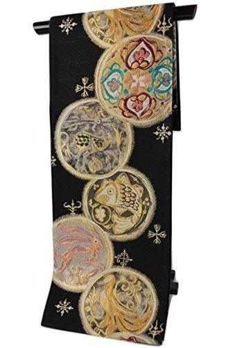 バレル最高競争西陣織 正絹袋帯 FZQ-1 兎など和柄をキャラっぽくデフォルメ 芯入り お仕立て上がり 日本製 黒