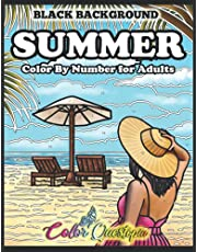 Color By Numbers For Adults- Summer - BLACK BACKGROUND: Holiday Seasonal Coloring Book