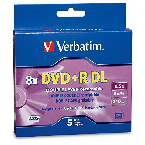 Verbatim DVD+R DL AZO 8.5GB 8x-10x Branded Double Layer Recordable Disc, 5-Disc Slim Case 95311