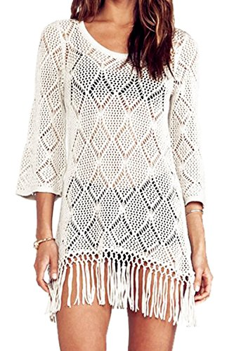 DQdq Women's Bathing Suit Cover Ups with Tassel White Small ()