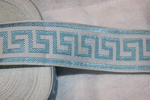 $1.50 yd Light Baby Blue White Greek Key Jacquard Woven Sewing Ribbon Trim 1.5''