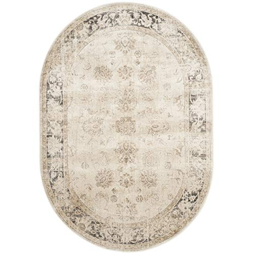(Safavieh Vintage Premium Collection VTG117-440 Transitional Oriental Stone Distressed Silky Viscose Area Rug Oval (5'3