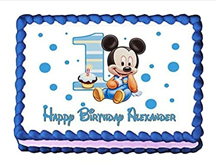 Cool Edible Cake Topper Baby Mickey Mouse Babys 1St Birthday By Cake Personalised Birthday Cards Petedlily Jamesorg