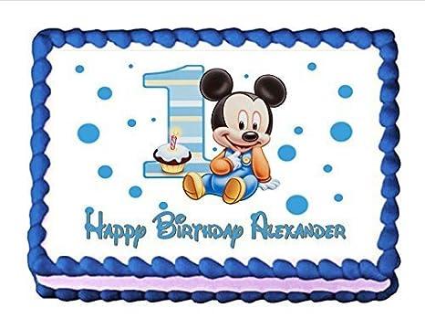 Comestible Decoracion Para Tarta Para Bebe Mickey Mouse Del Bebe