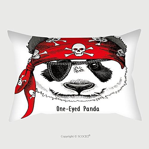 Silky Pirate Bandana (Custom Microfiber Pillowcase Protector Panda Portrait In A Red Pirate S Bandana Vector Illustration 408903319 Pillow Case Covers Decorative)