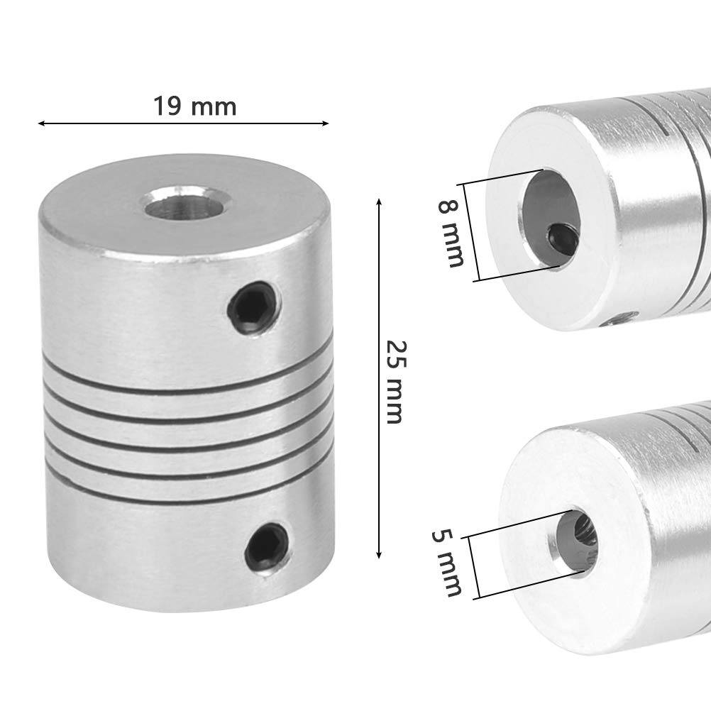 YOTINO 5Pcs Flexible Couplings 5mm to 8mm NEMA 17 Shaft Coupler Aluminum Alloy Joint Connector for Creality CR-10 CR-10S S4 S5 Makerbot RepRap Prusa i3 3D Printer or CNC Machine