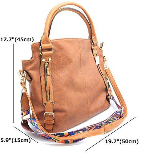 Handbags Strap Large Tote PU with Leather Brown Codyna Womens for Bag Guitar Hobo Shoulder Style AzaZ5tq