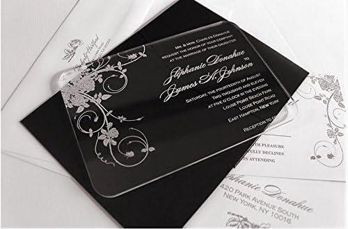 BESTLIFE Clear Scroll Shape Acrylic Wedding Invitation Card with Rose pattern,Wedding invitations,Wedding invites,acrylic invitations,acrylic invitations ...