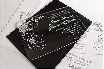 Amazoncom BESTLIFE Clear Scroll Shape Acrylic Wedding Invitation
