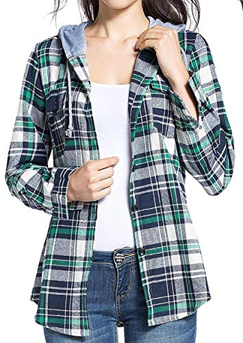 BomDeals Women's Classic Plaid Cotton Hoodie Button-up Check Shirts (M,Green)