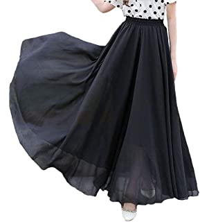 64d8dee2c4 v28 Women Full/Ankle Length Elastic Retro Maxi Chiffon Long Skirt at ...