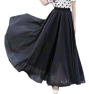 da8ac1f982 Afibi Womens Chiffon Retro Long Maxi Skirt Vintage Dress (Small, Black)