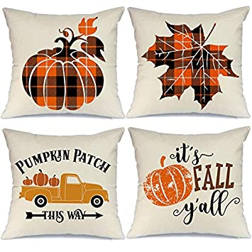 plaid pumpkin throw pillows