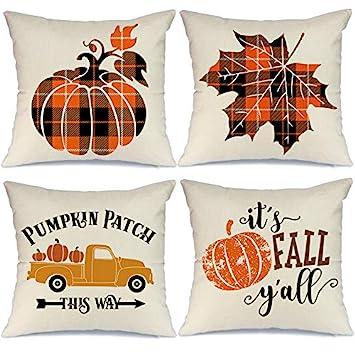 plaid pumpkin throw pillows