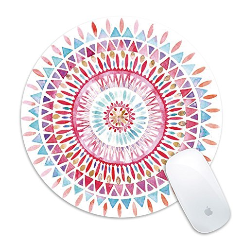 Mouse Pad Galdas Floral Mandala Mousepad Round Black Non-Slip Rubber Stitched Edges Gaming Mouse Pads for Computers Laptop (Updated Version)