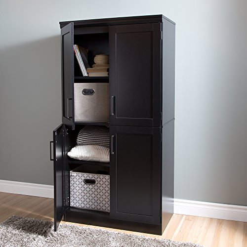 South Shore Morgan 4-Door Shaker Armoire, Pure Black by South Shore