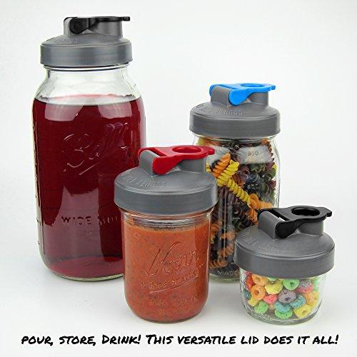 Drink, Pour, Store! Wide Mouth Mason Jar Flip Cap Lid by