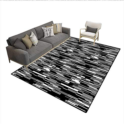 Floor Mat,Barcode Pattern Abstraction Vertical Stripes in Grayscale Colors,2683D Printing Area Rug,Black Grey White 5