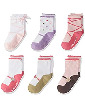 6 Pack Baby Girls' Ballet Comfy Fit Socks - Pink/White