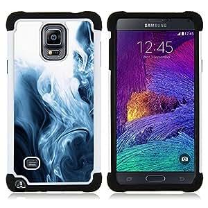 """Pulsar ( Niebla Negro Blanco Fascinante Fluid"""" ) Samsung Galaxy Note 4 IV / SM-N910 SM-N910 híbrida Heavy Duty Impact pesado deber de protección a los choques caso Carcasa de parachoques [Ne"""
