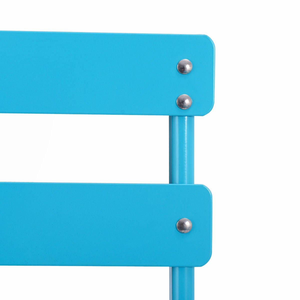3 Pcs. Blue Table Chair Set Foldable Outdoor Patio Garden Pool Metal Furniture by Allblessings (Image #6)