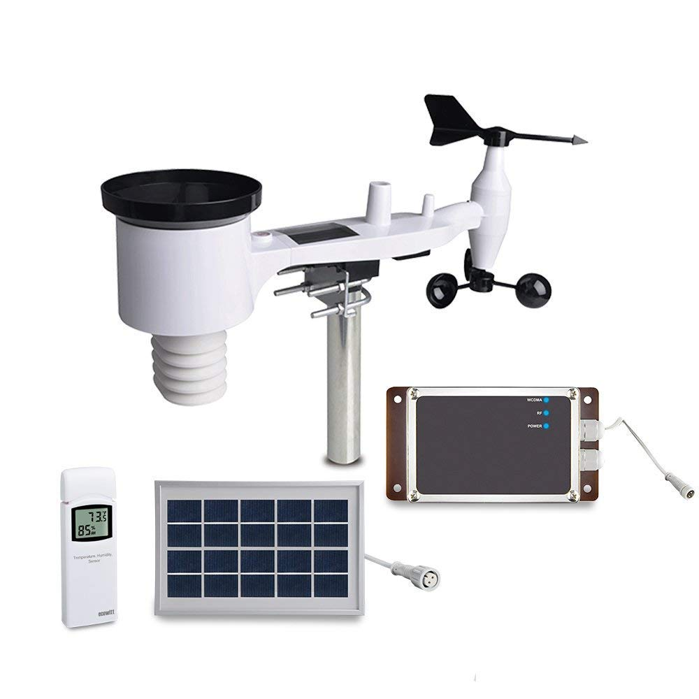 ECOWITT WH6006E Weather Station 7-in-1 Solar Powered Wireless 3G Cellular Weather Station with Remote Monitoring and SMS Alerts